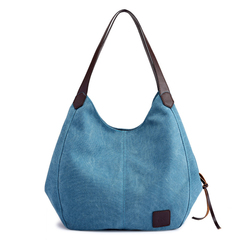 Casual Vintage Canvas Bucket Hand Bag For Women 2018 New Ladies Tote Bags Handbags Shoulder Bag blue large