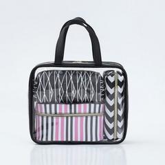 2018 Transparent Flight Bag Suitable For Cosmetic 4pcs PVC Waterprof Travel Toiletries Storage Bag black large