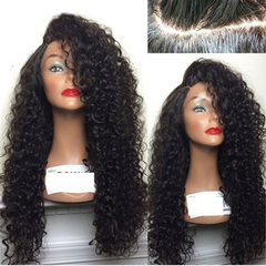 Female Wigs Long Small Curly Hair High Temperature Silk Fluffy Wig Headgear Valentine's Day gift black 65cm