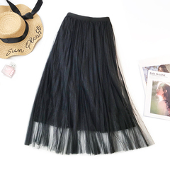 Three-layer Gauze Lace Pleated Skirt 2019 Korean Style Mesh 80cm Length Dress black waist 60-78cm length 80cm