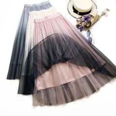 New Product Summer Dress Color Gradual Change Midi Mesh Gauze Pleated Skirts With Elastic Waistband pink waist 60-78cm length 80cm