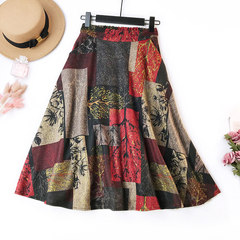 Woolen Midi Dress Causal A-line Skirt Medium-Long Length With Tree And Flower Pattern Dress red waist 60-74cm length 80cm