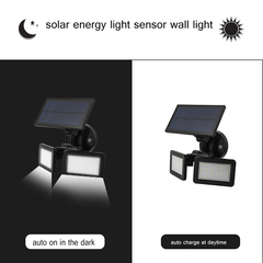Double LED And Adjustable Angle Solar Energy Wall Light Three Modes Switch And At Least 8h Working black 25*17*14 4.8w