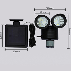 22 LED Double Head Solar Energy Light With 3m Cables Easily Install And Use For Indoor or Outdoor black 19*18*15 2.2w