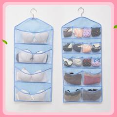 Wall Hanging Mesh Bag 16 Pockets Hanging Pouch Closet Holder Storage Organizer for Socks Underwear blue