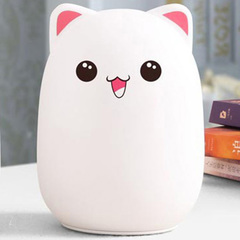 Creative 7 color LED Light Soft Silicon Bear Shape Light Contains 1k mAh Battery with USB Charge pink ear pat control 10*10*14cm 1w