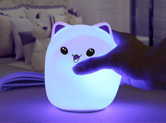 Creative 7 color LED Light Soft Silicon Bear Shape Light Contains 1k mAh Battery with USB Charge blue ear pat control 10*10*14cm 1w