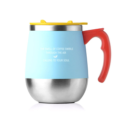 Cup Retro Milk Coffee Cup 450ml Double Layer Stainless Steel Heat Insulated Handle blue 10.5*10.5*13cm
