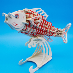 DIY Fish Wooden Puzzle Kids Brain Teasers Game and Intelligence Toy fish 34*21*0.9cm
