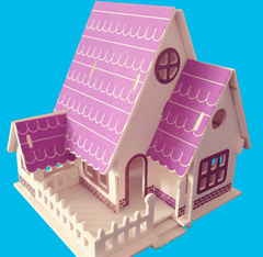 3D DIY Puzzle Buildings Puzzle Kids Intelligence Toy forest villa 34*21*0.9cm