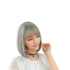 Short Curly Bob Style Air Bangs Daily Party Costumes Cosplay Wig for Women Lady Girl gray 30cm