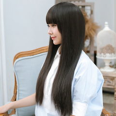 Heat Resistant Full Head Wig Long Straight Hair black 70cm