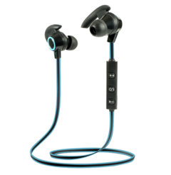 Waterproof Bluetooth Headset Mini in-ear Headphones Control Button Super-lightweight Earbuds blue