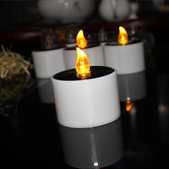 Homemory Candle Shape Solar Energy LED Bulb Tea Light Wedding Table Outdoor Religion Activities white 5.2*5.2*5.8cm 0.1w