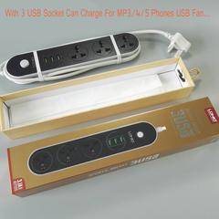 3 5V 1A USB And 3 International Universal Plug Power Strip Surge Protector with 1.6m Power Cord UK black