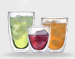 Exquisite Hand-Made Double Wall Glass Heat Protection Ice Juice Cup transparent 80ml