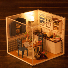 DIY Fashion Miniature Wooden Assembled Cottage Child Light Music Box Furniture Dollhouse Home Model one suit normal