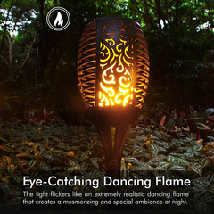 1W Solar Energy Fire Flame Flickers LED 2200mAH 8-10h Working Time Ground Light Decorative Light black 33*13*14cm 1w