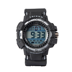 Sports Watches Military Classic Stopwatch Large Dial Electronic LED Wristwatch Digital Watch black 5cm
