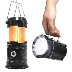 LED Camping Lantern Flame 3 mode outdoor portable tent lamp telescopic camping light emergency light black 10*10*10cm 5w