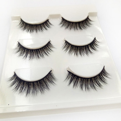 3 Pairs Fake Eyelashes Reusable 3D Handmade False Eyelashes Set Sofe And Comfortable black