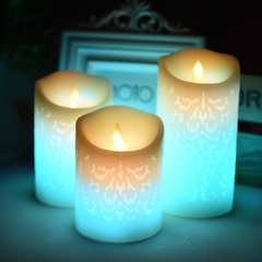 Carved Paraffin Wedding Candle LED Church LED Cathedral LED Hotel Or Dinner Motion Light 3 in 1 white 8*15cm 1w