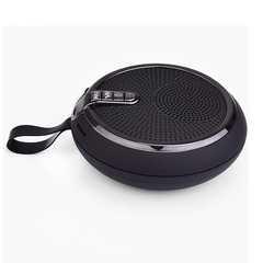 TF USB FM Bluetooth Outdoor Speaker With Lanyard Easy Carry black 400mah plastic