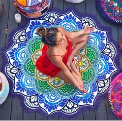 Beach Bathrobe Round Beach Blanket Sand Mat Tassel Beach Mat Outdoor Mat Cushion 150*150 Purple 150*150cm