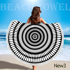 Round Beach Blanket Sand Mat Beach Bathrobe Tassel Beach Mat Outdoor Mat Cushion 150*150 New3 150*150cm