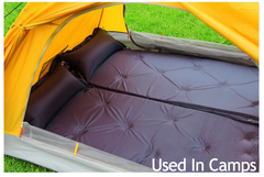 Outdoor PVC Inflatable Cushion Sleeping Pad With Pillow Self-Inflating Foam Air Mattress blue 183*57*2.5