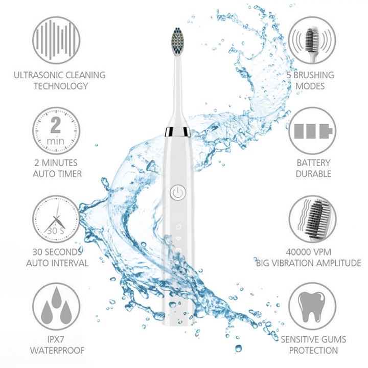 Rechargeable Electric Toothbrush 5 Optional Modes Touch Control High Quality Product white