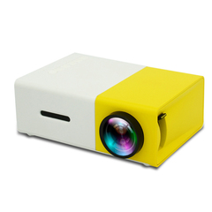 1080p Support Max To 80inch HD Projector USB HDMI VGA Input Support Battery Inside yellow 12.6*8.6*4.8cm