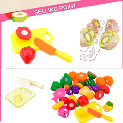 Plastic Fruit Vegetable Cutting Toys Simulation Kitchen Food Sets Kids Pretend Play House all normal