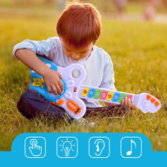 Music Electric Guitar Toys Kids Musical Instruments Plastic Light Drum Rhyme Sound Toy For Children blue normal