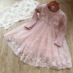 Baby Girl Dress Autumn Winter Cotton Slim Fit Lace Princess Dress Girl Full Sleeve Vestidos pink 110