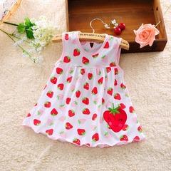 Infant Girls Dress Kids Newborn Cotton Toddler Dresses for Kid Children Vestidos Baby Girl Clothes A strawberry whtie