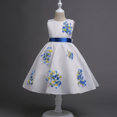 Girls Dress 3D Flower Baby Dresses Appliques Children Party Frocks Teenage Wedding Prom blue 120