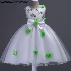 Girls Dress Big Bow Flower Baby Dresses Mesh Children Party Ball Gown Wedding Frocks green 130