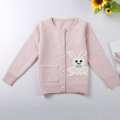 Girls Christmas Sweater Girls Sweaters Cotton Open Stitch Knitted Baby Girls Ribbed Sweater pink 90