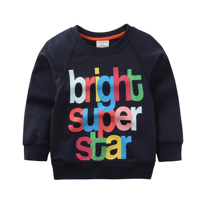 Boys Tops T Shirts Long Sleeve Kids Sweatshirts Printed Children Outwear Sport Clothing Spring blue 4t cotton