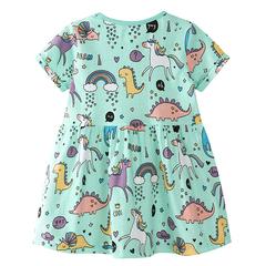 Girls Dress Cartoon Unicorn Summer Kids Dresses Short Sleeve Baby Girl Frocks Cotton Clothes green 18m