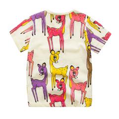 Summer Girls T Shirt Short Sleeve Deer Cartoon Baby T-Shirts Casual Basic Kids Tops white 18m