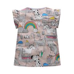 Cartoon Girls T Shirt Striped Cotton Kids T Shirts Casual Design Tops for Summer gray 18m
