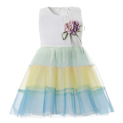 Girls Dress Rainbow Birthday Party Baby Dress Formal Fashion Princess Ball Gown Flower Infant Frock yellow 18m