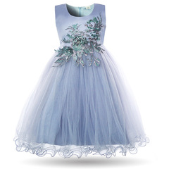 Girls Formal Dress Flower Princess Wedding Party Prom Dresses Pageant Kids White Ball Gown Frock blue 2t-3t
