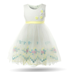 Girls Formal Dress Flower Kids Birthday Party Dresses Baby Tulle Frocks Children Princess Dresses yellow 2t