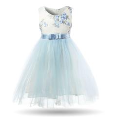 Flower Girls Dresses Summer Princess Dress for Kids Children Tulle Frock Baby Wedding Party Dress blue 3t