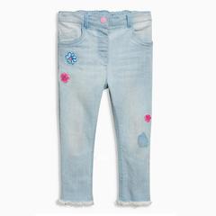 Girls Denim Pants Kids Jeans Design Casual Children Trousers Fashion Flower Toddler Cute Jeans blue 4t