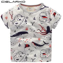 Boys Cartoon T Shirt Kids Short Sleeve T-Shirt Graffiti Pattern Cotton Clothing Casual Tops Tees white 3t cotton