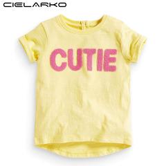 Girls T Shirt Short Sleeve Cute Kids Summer Tops Tees Fashion Clothing Yellow Cotton Baby T-Shirt yellow 18m